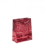 Red Metallic Happy Christmas Gift Bag – Medium x 1pc