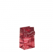 Red Metallic Happy Christmas Gift Bag – Small x 1pc