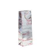 Silver Metallic Happy Christmas Gift Bag – Bottle Bag x 1pc