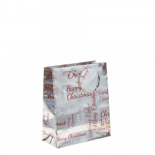Silver Metallic Happy Christmas Gift Bag – Medium x 1pc