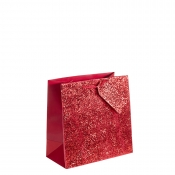 Crushed Red Glitter Square Gift Bag – Large x 1pc