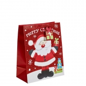 Red Glitter Merry Christmas & Santa Gift Bag – Large x 1pc