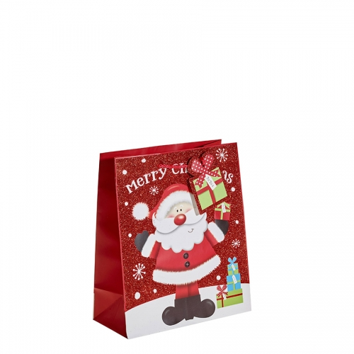Red Glitter Merry Christmas & Santa Gift Bag – Medium x 1pc