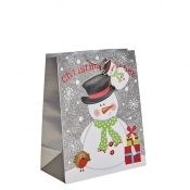Silver Glitter Merry Christmas & Santa Gift Bag – Large x 1pc