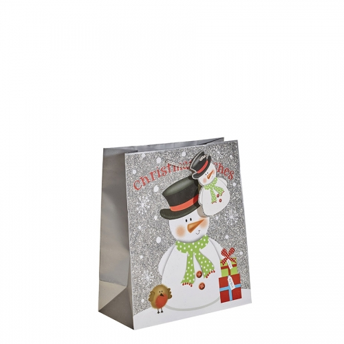 Silver Glitter Merry Christmas & Santa Gift Bag – Medium x 1pc