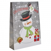 Silver Glitter Merry Christmas & Santa Gift Bag – Extra Large x 1pc