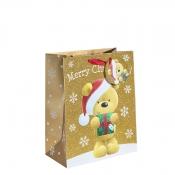 Gold Glitter Merry Christmas & Santa Gift Bag – Large x 1pc