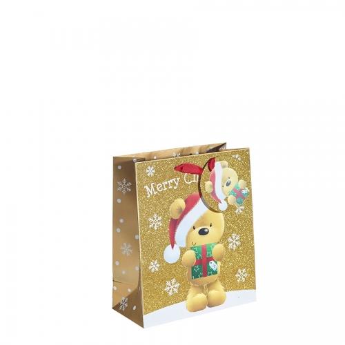 Gold Glitter Merry Christmas & Santa Gift Bag – Medium x 1pc
