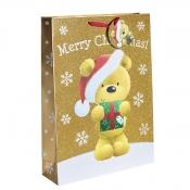 Gold Glitter Merry Christmas & Santa Gift Bag – Extra Large x 1pc