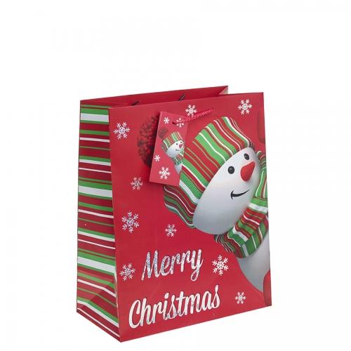 Peeking Snowman Christmas Gift Bag – Large x 1pc