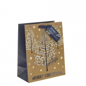 Gold, Silver & Navy Blue Classic Merry Christmas & Christmas Tree Gift Bag – Large x 1pc