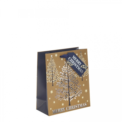 Gold, Silver & Navy Blue Classic Merry Christmas & Christmas Tree Gift Bag – Medium x 1pc