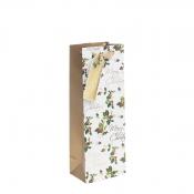 Golden Merry Christmas & Holly Christmas Gift Bag – Bottle Bag x 1pc