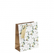 Golden Merry Christmas & Holly Christmas Gift Bag – Medium x 1pc