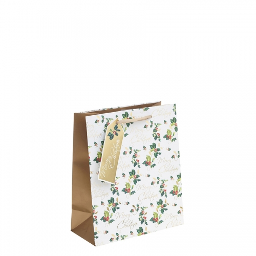 Golden Merry Christmas & Holly Christmas Gift Bag – Medium x 1pc