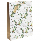 Golden Merry Christmas & Holly Christmas Gift Bag – Extra Large x 1pc