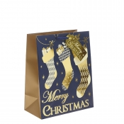 Gold & Navy Blue Classic Merry Christmas & Stocking Christmas Gift Bag – Large x 1pc
