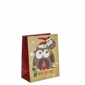 Funky Tartan Owl Merry Christmas Gift Bag – Medium x 1pc