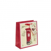 Red Post Box Christmas Gift Bag – Medium x 1pc