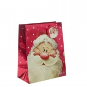 Red Metallic Santa Clause Christmas Gift Bag – Large x 1pc