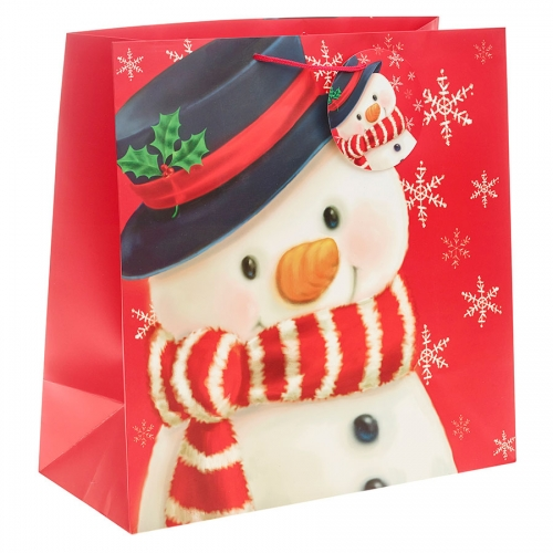 Cute Snowman in his Winter Scarf Christmas Gift Bag - Jumbo Square