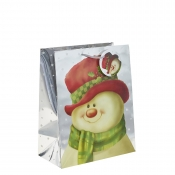Silver Metallic Classic Snowman Christmas Gift Bag – Large x 1pc