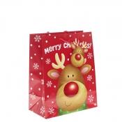 Shiny Rudolph Christmas Gift Bag – Large x 1pc