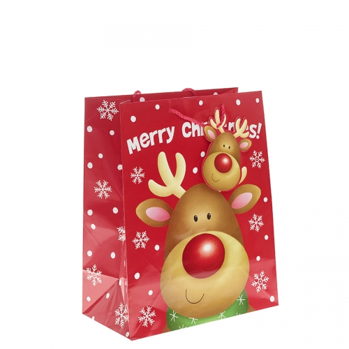 Shiny Rudolph Christmas Gift Bag – Large x 1pc