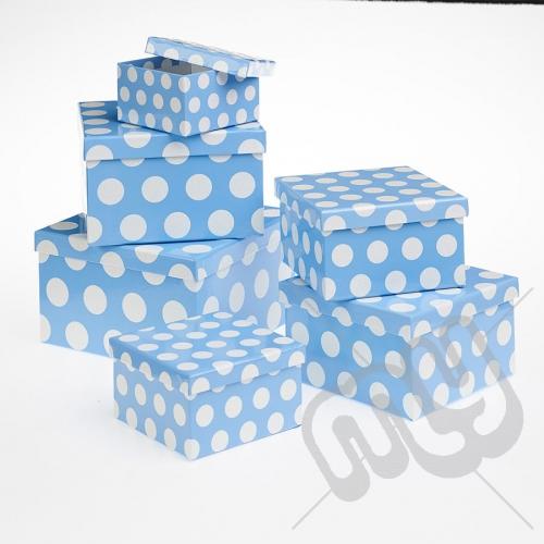 Blue Polka Dot Glitter Luxury Gift Boxes - Set of 6