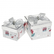 A Magical Silver Square Christmas Gift Boxes – Set of 2
