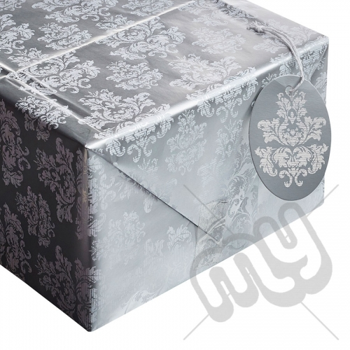 Metallic Silver & White Damask Print Wrapping Paper - 2 Sheets & 2 Tags
