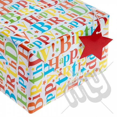 Happy Birthday to You Printed Wrapping Paper - 2 Sheets & 2 Tags