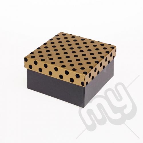 Black & Gold Flocked Luxury Polka Dot Gift Box - Small