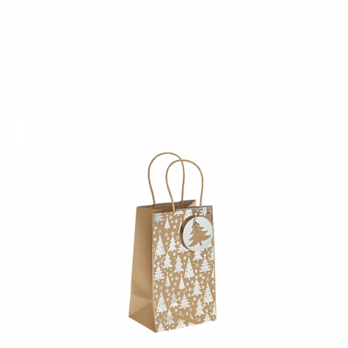 Silver Metallic Christmas Tree Kraft Paper Gift Bag with Twisted Handles – Small x 1pc