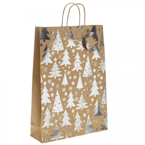 Silver Metallic Christmas Tree Kraft Paper Gift Bag with Twisted Handles – Extra Large x 1pc