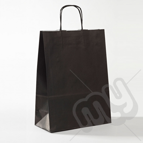 Black Kraft Paper Bags with Twisted Handles - Large x 25pcs