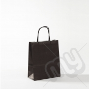 Black Kraft Paper Bags with Twisted Handles - Small x 25pcs
