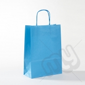 Blue Kraft Paper Bags with Twisted Handles - Medium x 25pcs
