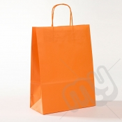 Orange Kraft Paper Bags with Twisted Handles - Large x 25pcs