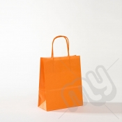 Orange Kraft Paper Bags with Twisted Handles - Small x 25pcs