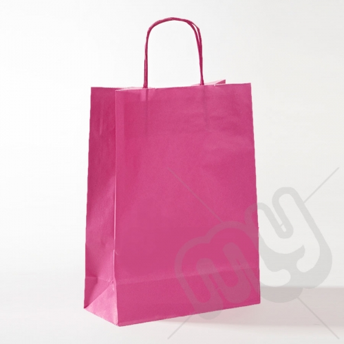 Pink Kraft Paper Bags with Twisted Handles - Large x 25pcs