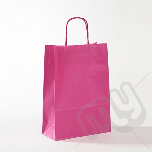 Pink Kraft Paper Bags with Twisted Handles - Medium x 25pcs