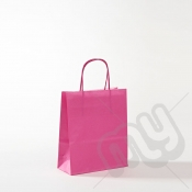 Pink Kraft Paper Bags with Twisted Handles - Small x 25pcs