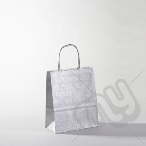 Silver Kraft Paper Bags with Twisted Handles - Small x 25pcs