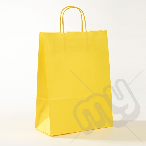 Yellow Kraft Paper Bags with Twisted Handles - Large x 25pcs