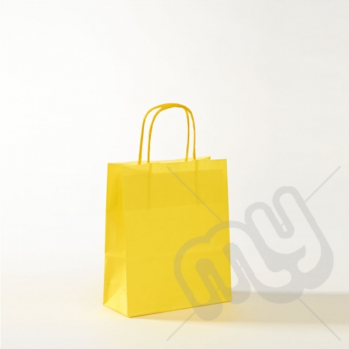 Yellow Kraft Paper Bags with Twisted Handles - Small x 25pcs