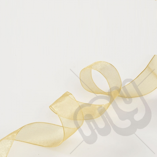 Gold Organza Ribbon 10mm x 25 metres