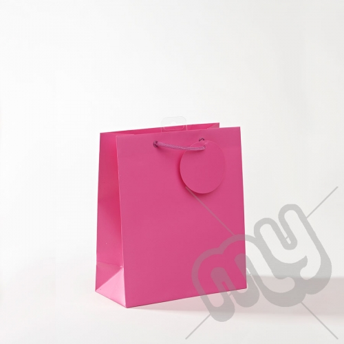 Fuscia Pink Luxury Matt Laminated Rope Handle Carriers- MEDIUM x 1pc
