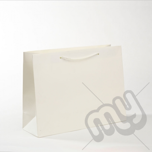 White Luxury Matt Laminated Rope Handle Carriers - MEDIUM x 50pcs
