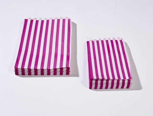 7 x 9 Pink Candy Stripe Paper Bags x 100pcs